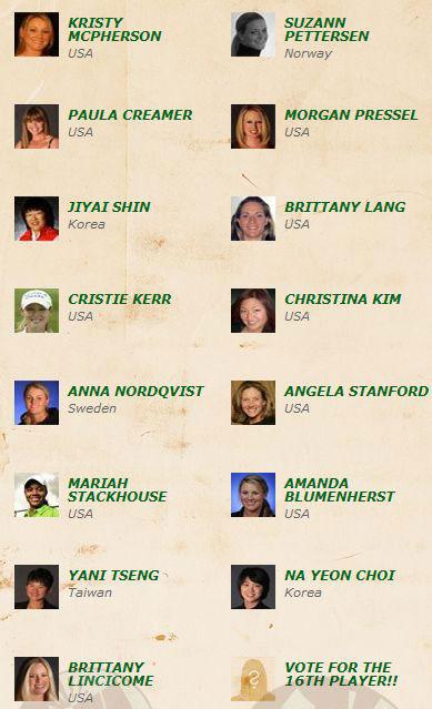 Las quince jugadoras clasificadas