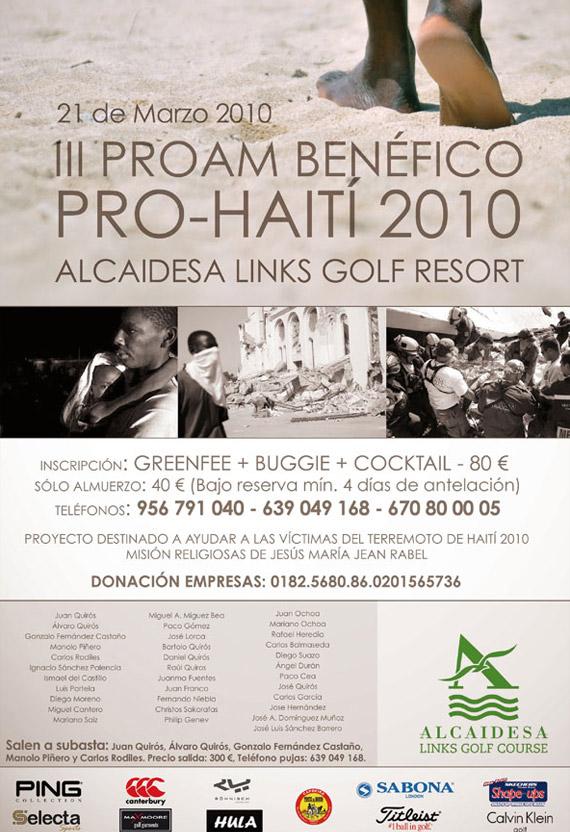 Cartel del Pro-Am benéfico por Haití en Alcaidesa Golf