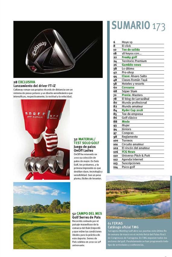 Índice Solo Golf & Viajes 173