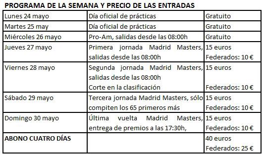 Tarifas del Madrid Masters