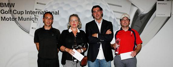 Óscar Ubia (ganador 1ª categoría), Mª Antonia Martínez (ganadora damas), Josep Mª Alari (gerente Motor Múnich) y Albert Balart (ganador 2ª categoría)