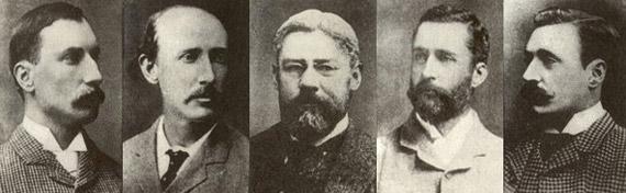 La banda de Oakhurst: Alexander MacLeod, George Grant, Russell Montague, Lionel Torin y Roderick MacLeod