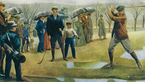 Estampa del primer US Amateur (litografía según un cuadro de Everett Henry), con C. B. Macdonald en el tee de salida y John Reid fumando a la izquierda