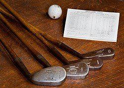 Jigger, mashie niblick, mashie y mid mashie de Ouimet (wedge e hierros 7, 5 y 3)
