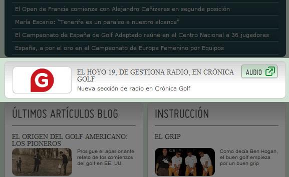Pastilla de radio en la portada de la web