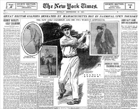 Portada del New York Times dedicada a la victoria de Ouimet