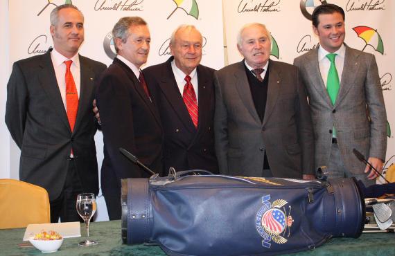Arnold Palmer, flanqueado por Manuel Piñero (izquierda) y Ramón Sota (derecha), dos leyendas del golf español (foto de Francisco José Sastre)
