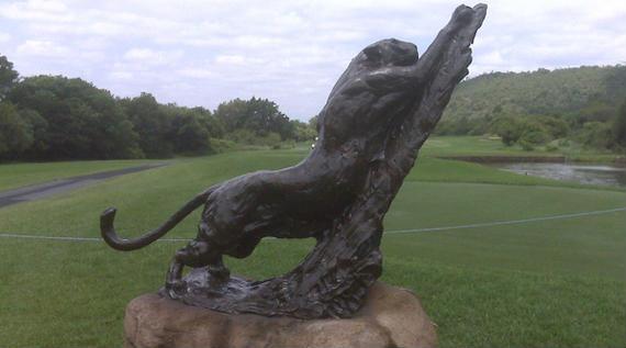 Leopardos en los tee boxes del Leopard Creek Golf Club