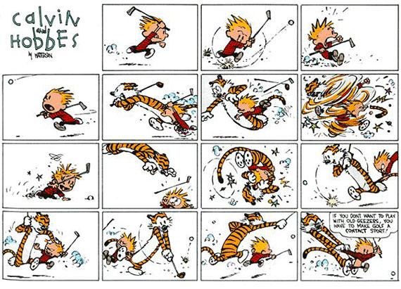 Calvin y Hobbes juegan al golf a su manera