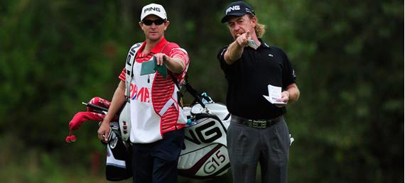Mike Kerr junto a Miguel Ángel Jiménez en el Austrian GolfOpen 2010