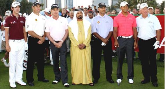 Los participantes en el torneo de pares 3, antesala del Dubai Desert Classic