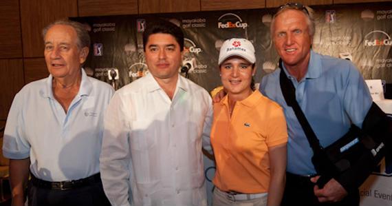 Juan Miguel Villar Mir, Félix González Canto (gobernador de Quintana Roo), Lorena Ochoa y Greg Norman