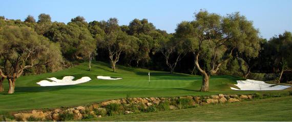 Vista del green del hoyo 13 de Finca Cortesín (foto de Volvo in Golf)