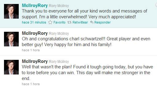 Tweets de Rory McIlroy tras su derrota en Augusta