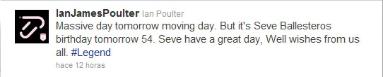 El tweet en el que Poulter felicita a Seve