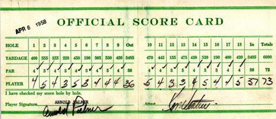Tarjeta de Arnold Palmer en el Masters de Augusta de 1958