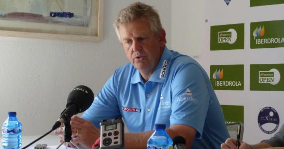 Colin Montgomerie, durante la rueda de prensa de esta mañana (foto de Crónica Golf)