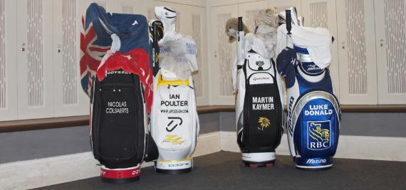 Las bolsas de los semifinalistas del Volvo World Match Play Championship (foto cortesía de Alfredo Calle/MiPuntuacion.com)