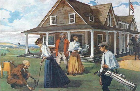 Shinnecock Hills, la primera casa club de Estados Unidos (acuarela de Leland R. Gustavson)