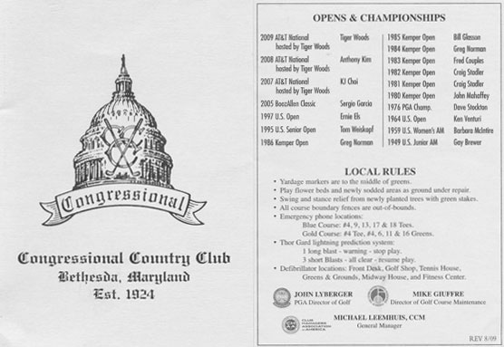 Parte frontal de la tarjeta del Congressional Country Club