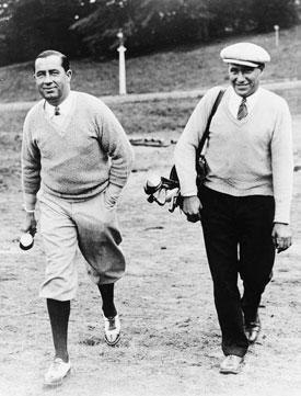 Hagen y su caddie Jimmy McDonald en el Open de 1926