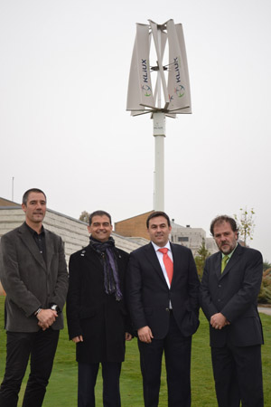Salva Díez, gerente de Rioja Alta Golf; Julio Herreros, director general de Innovación, Industria y Comercio del Gobierno deLa Rioja; Iñaki Eguizábal, presidente de Kliux y Juan José Eguizábal, socio de Kliux.