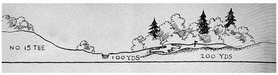 """Boceto del hoyo 15, el """"Redan"""" de Augusta, que no llegó a ejecutarse"""