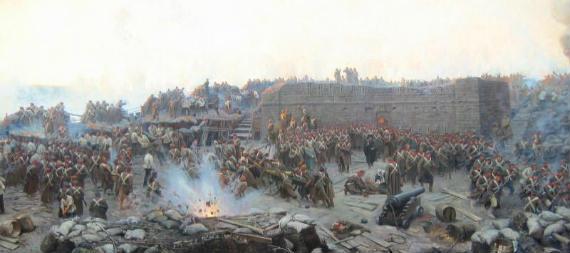 Detalle del óleo 'El sitio de Sebastopol', de Franz Roubaud