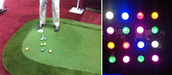Bolas de golf brillantes y luminosas en el PGA Merchandise Show