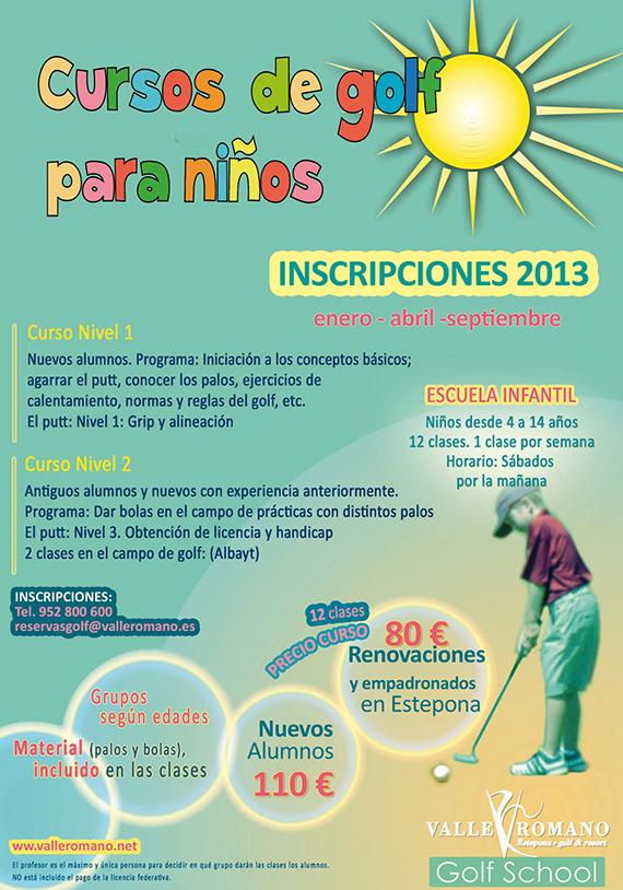 Cartel cursos niños Valle Romano Golf 2013
