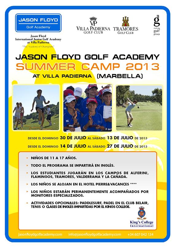 Cartel de los Summer Camps de la Jason Floyd Golf Academy en Villa Padierna