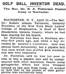 Obituario de Robert Patterson publicado en el New York Times