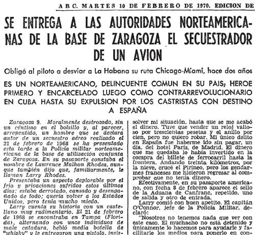 Recorte del ABC acerca de la entrega de Larry Rhodes a la policía militar de la base de Zaragoza