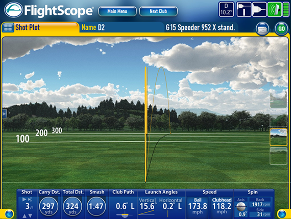 Captura de imagen de Flightscope, en el Taylor Made Performance Lab