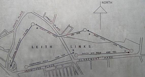 Plano del links proyectado sobre un mapa actual de Leith