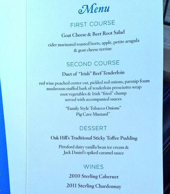 Menú de la cena de los campeones del PGA Championship 2013