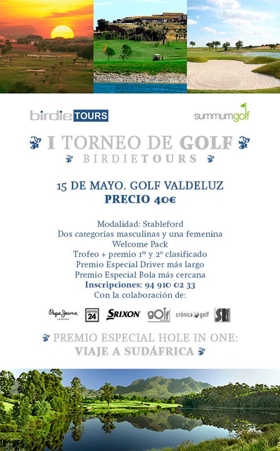 Cartel del Torneo de Golf Birdie Tours en Valdeluz