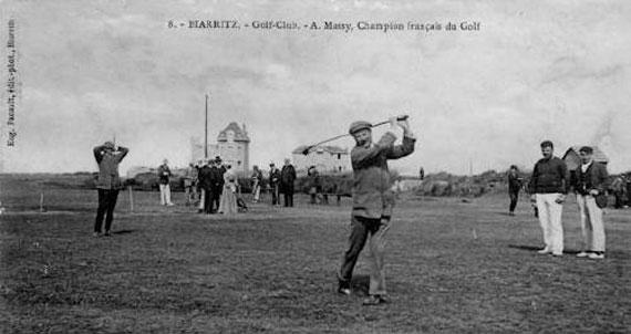 Arnaud Massy en el Club de Golf de Biarritz en 1908