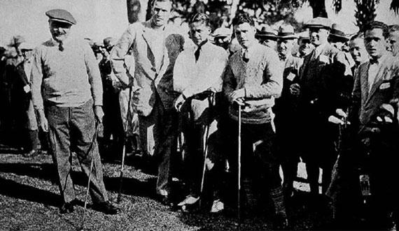 Arnaud Massy con Bobby Jones y sus compañeros de la gira de 1926