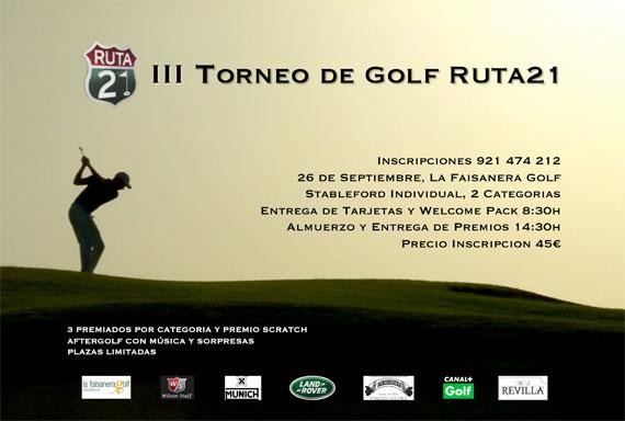 Cartel del III Torneo de Golf Ruta 21
