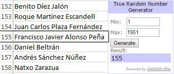 Fco Javier Alonso, ganador del sorteo de Patadón