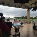 El set de televisión en el Cadillac Championship