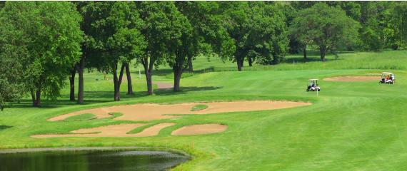 Vista del búnker del hoyo 15 del Highland National Golf Course