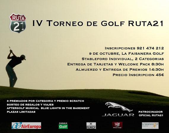 Cartel del IV Torneo de Golf Ruta 21